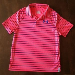 Striking orange and blue striped dry fit polo